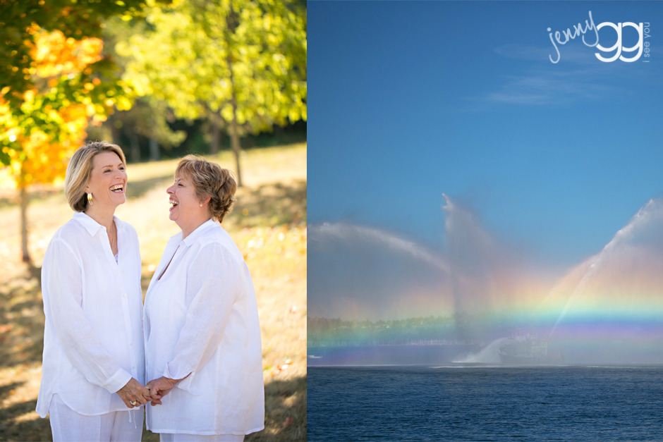same sex wedding, salty's on alki, west seattle wedding, lesbian wedding, rainbows, fall wedding