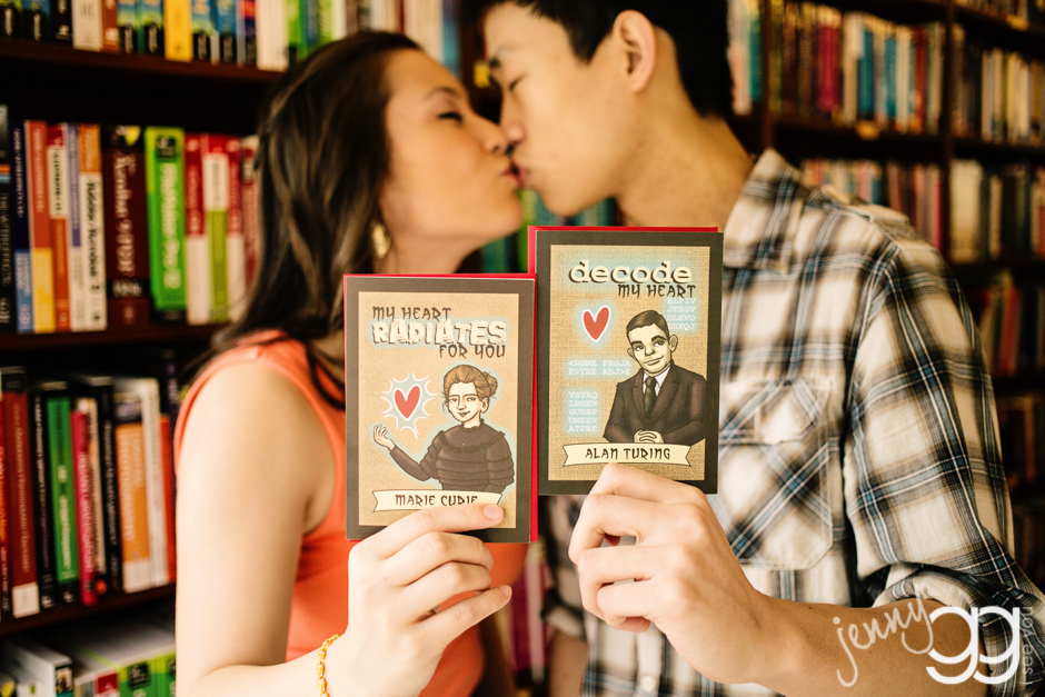 bookstore engagement session by jenny gg