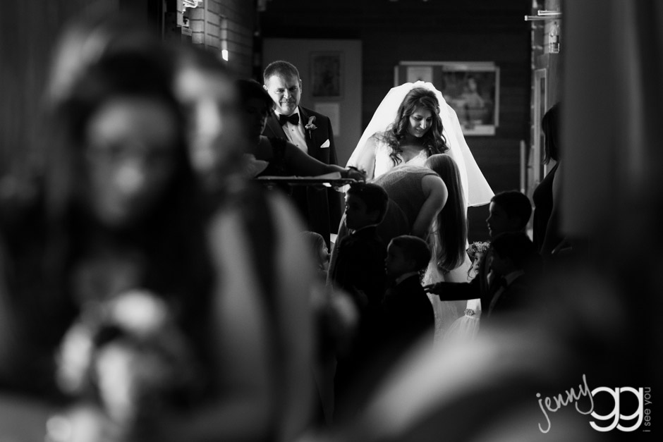 bride waiting with father at st demetrios church