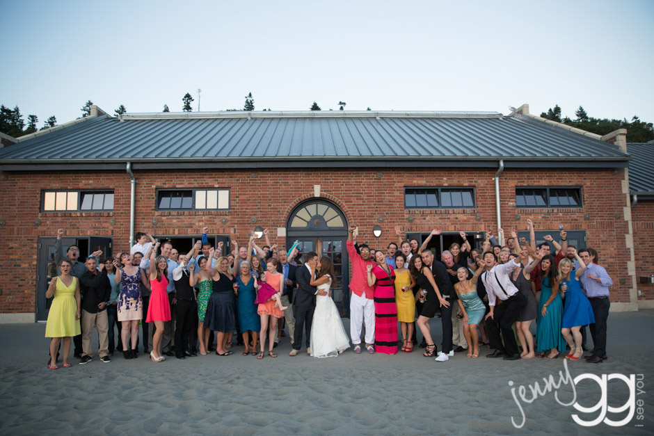 wedding reception group photo at golden gardens bathhouse