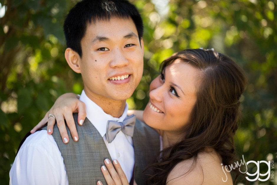 bride and groom at delille cellars
