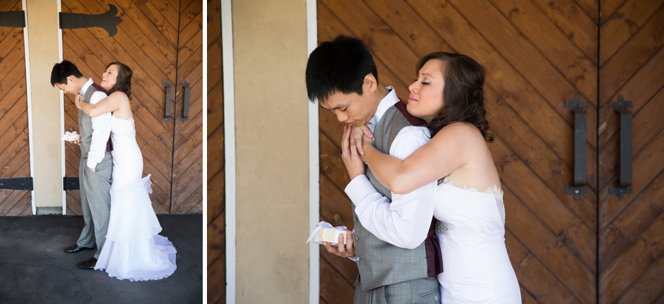 first look for bride and groom at delille cellars