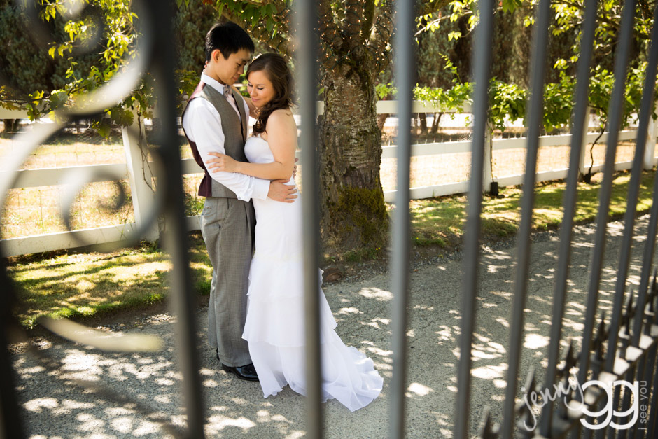 bride and groom portrait at delille cellars