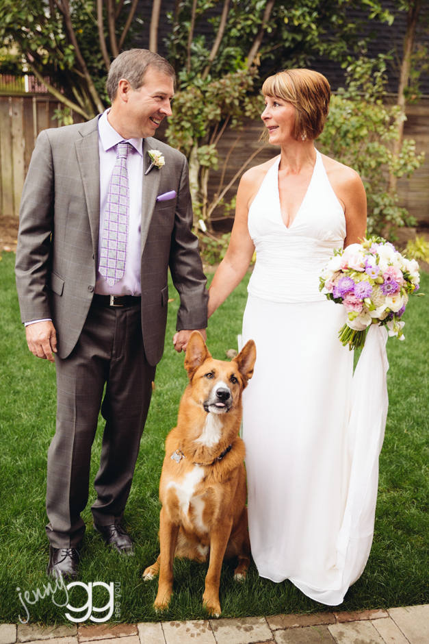 golden gardens wedding, ballard wedding, dog, wedding, jenny gg