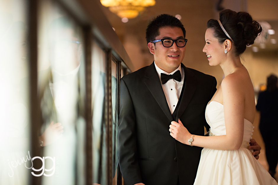 bride and groom at davenport hotel in spokane by jenny gg