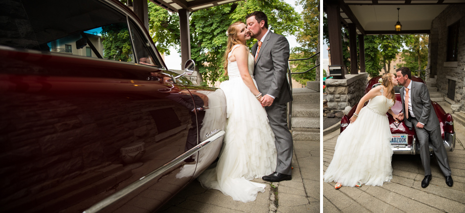 classic car with bride and groom