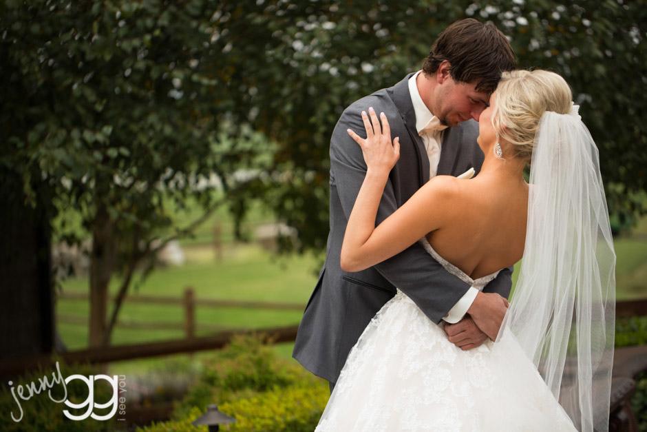 first look between bride and groom at hidden meadows