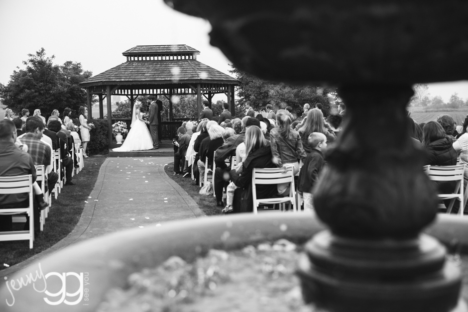 ceremony in gazebo at hidden meadows in snohomish