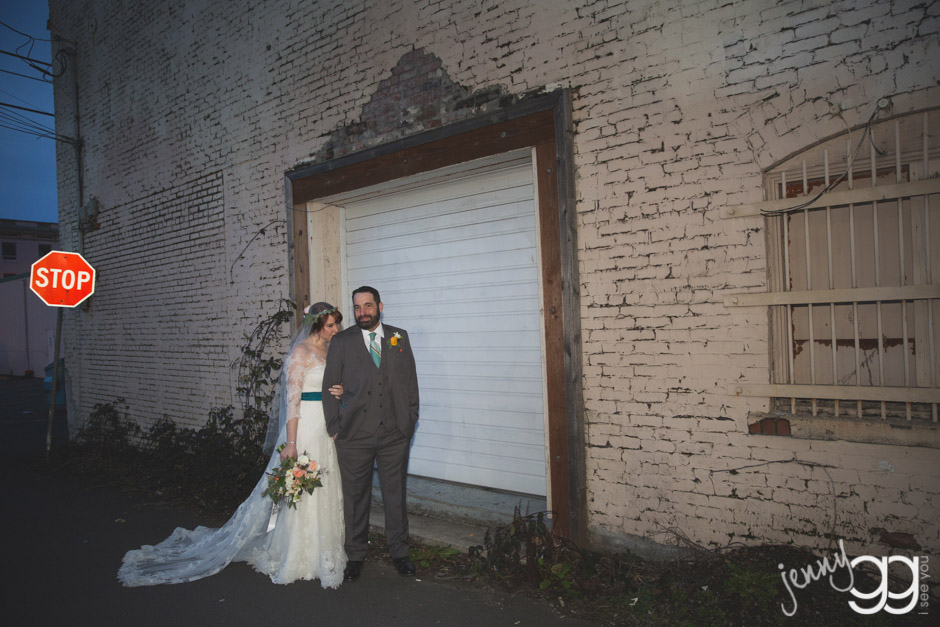 bride and groom in alley centralia