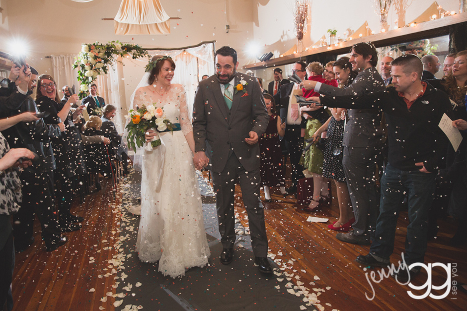 confetti recessional at aerie ballroom by jenny gg
