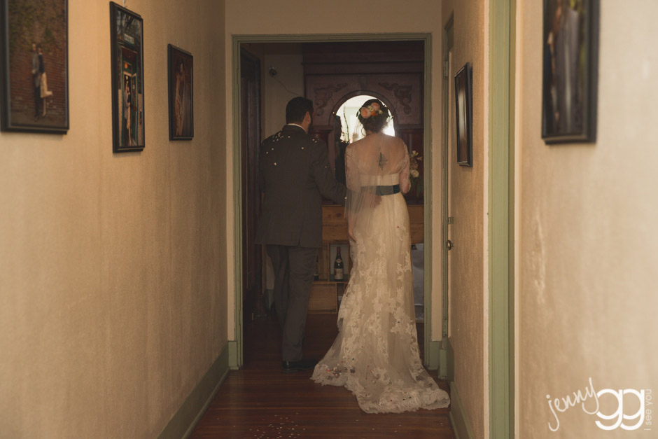 bride and groom exiting ceremony by jenny gg