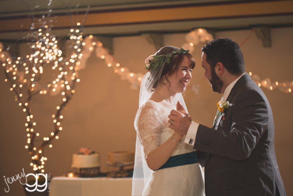 bride and groom first dance at aerie ballroom by jenny gg