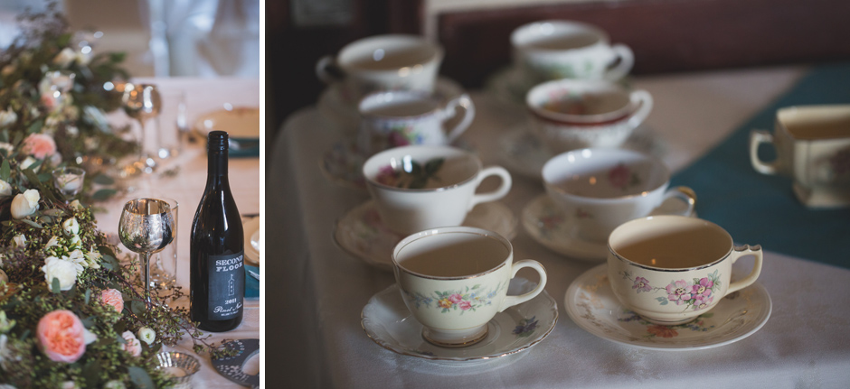 vintage teacups at wedding