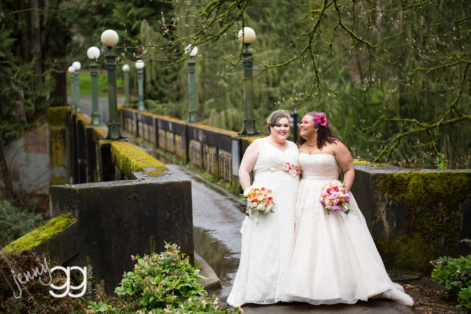 same sex wedding with two brides at arboretum by jenny gg