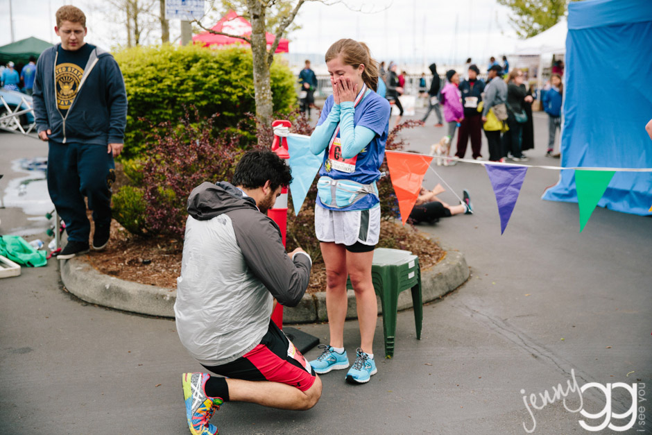 finish line proposal at half marathon in seattle wa