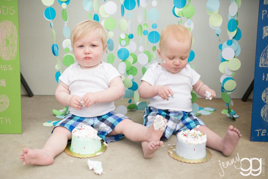 twins baby cake smash