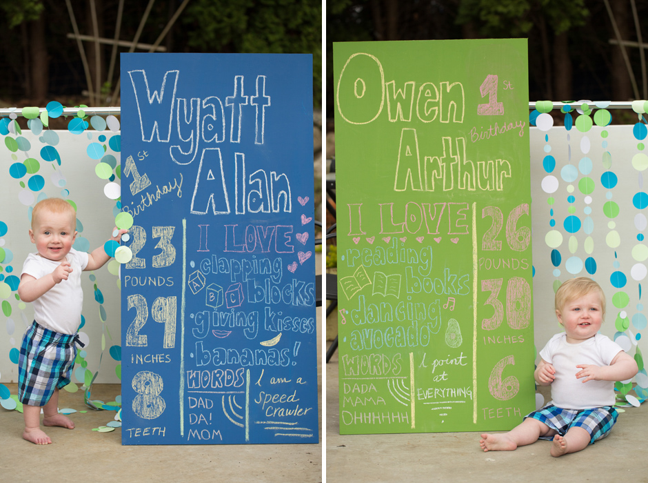 first year birthday sign for twins