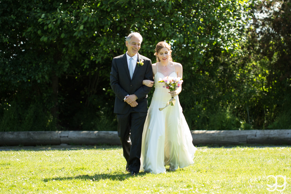 bride and father at wedding ceremony golden gardens