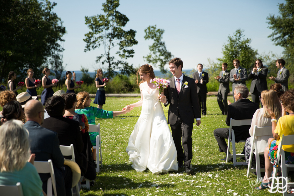 wedding ceremony on lawn at golden gardens