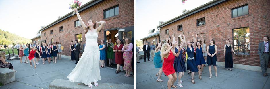 bride throwing bouquet at golden gardens