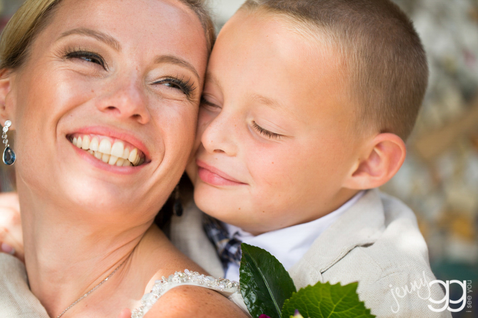 bride and son at golden gardens by jenny gg