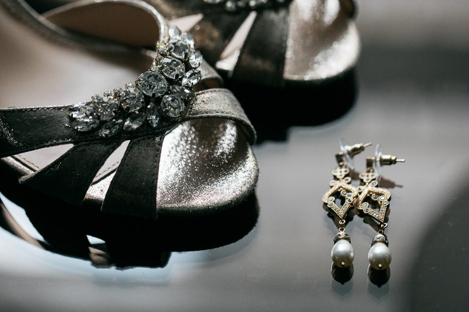 bride's shoes and earrings at the fairmont hotel